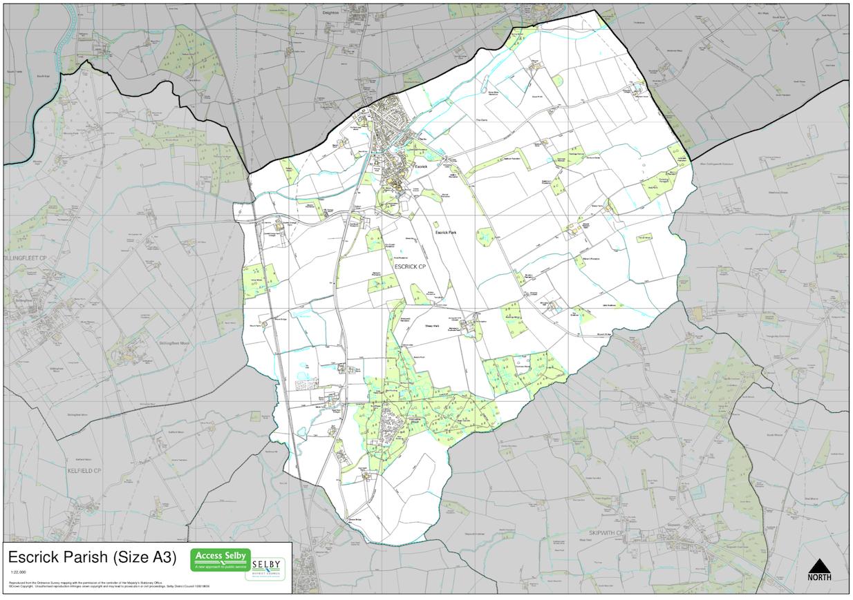 Map of Escrick Civil Parish